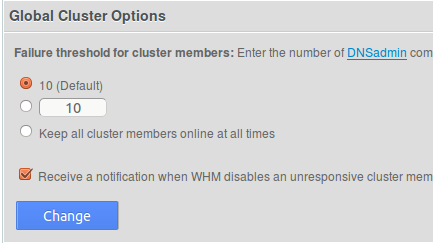 WHM cluster status options